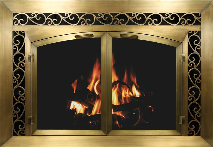 Bar Iron Plated – Plated Antique Brass Finish - Glass Fireplace Doors - Central Coast Fireplace